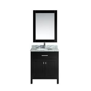 Design Element London 30 in. Single Vanity in Espresso with Marble Vanity Top and Mirror in Carrara White DEC076E