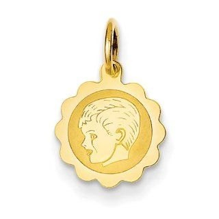 14k Yellow Gold Boy Head on .009 Gauge Engravable Scalloped Disc Charm Pendant Jewelry