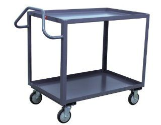 Jamco Products ES236 U5 GP 24 Inch by 36 Inch 1200 Pound Capacity Ergonomic Handled 2 Shelf Service Cart