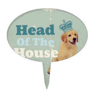 retro funny Cute puppy Golden Retriever dog Cake Topper