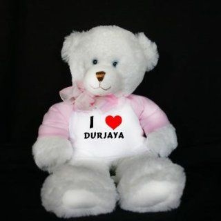 Plush White Teddy Bear (Dena) toy with I Love Durjaya (first name/surname/nickname) Toys & Games