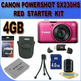 Canon PowerShot SX230HS SX230 HS 12 MP Digital Camera with HS SYSTEM and DIGIC 4 Image Processor (Red/Pink) Starter Bundle 4GB Memory Card, NB5L Battery, Card Reader, Carrying Case, Mini Tripod And More  Point And Shoot Digital Camera Bundles  Camera