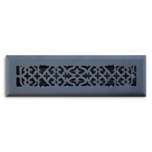 T.A. Industries 02 in. x 10 in. Ornamental Scroll Floor Diffuser Finished in Matte Black H164 OMB 02X10