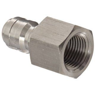 "Dixon Valve E3F3 S Stainless Steel 303 Straight Through Interchange Hydraulic Fitting, Nipple, 3/8"" Coupling x 3/8""   18 NPTF Female Thread Quick Connect Hose Fittings"
