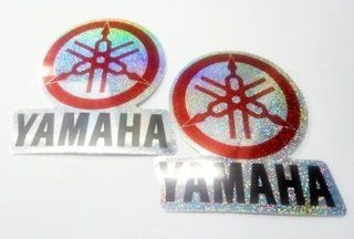 2x New Silver Red Yamaha Y1 Y6 YZF motorcycle bike motocross racing reflected emblem logo sticker decal