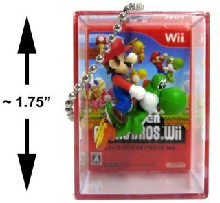 New Super Mario Bros Wii Bobble Figure Keychain Cube   Mario riding Yoshi Toys & Games