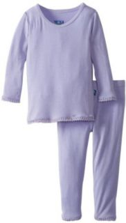 KicKee Pants Baby Girls Solid Long Sleeve Scallop Pajama Infant And Toddler Pajama Sets Clothing