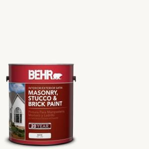BEHR Premium 1 gal. #MS 31 White Satin Interior/Exterior Masonry, Stucco and Brick Paint 28001
