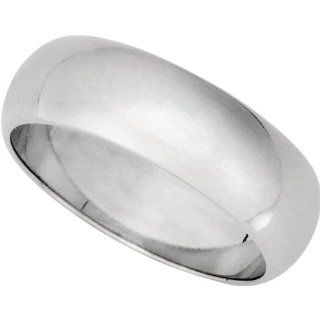 6mm Half Round Plain Wedding Band Solid 10K White Gold Jewelry