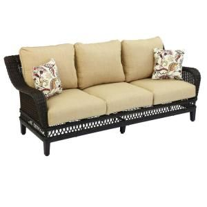 Hampton Bay Woodbury Patio Sofa with Textured Sand Cushion DY9127 S