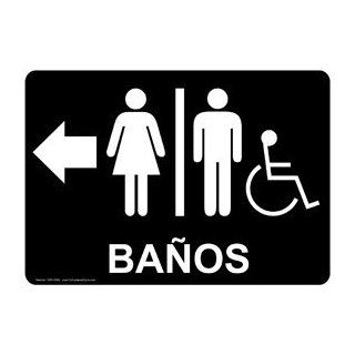 ADA Restrooms White on Black Spanish Sign RRS 6988 WHTonBLK Restrooms  Business And Store Signs