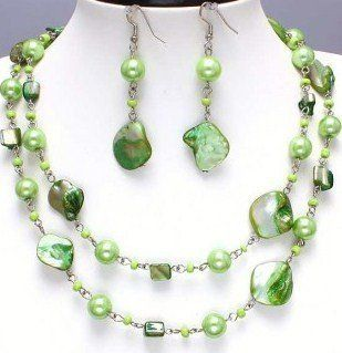 Green Glass Bead Necklace Set