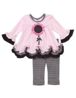 Rare Editions Baby Girls Flower Striped Dress Outfit Legging Set, Pink , 18M Clothing