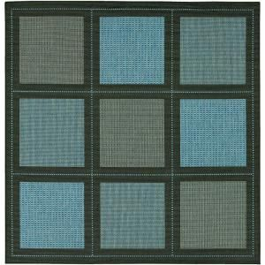 Couristan Recife Summit Blue Black 8 ft. 6 in. x 8 ft. 6 in. Square Area Rug 10435000086086Q