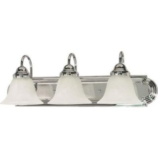 Glomar Ballerina 3 Light Polished Chrome Vanity with Alabaster Glass Bell Shades HD 317