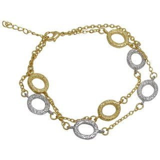 "Two Row Hammered Brushed Two Tone Gold Tone and Silver Tone Textured Open Circle Layered Link Bracelet 7"" with 1"" Extender Jewelry"