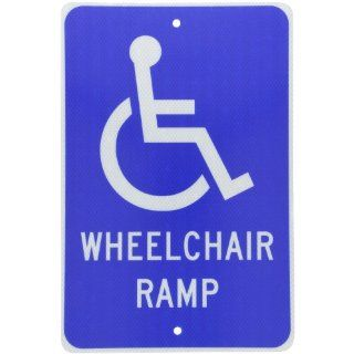 "NMC TM86J Handicap Parking Sign, Legend ""WHEELCHAIR RAMP"" with Handicapped Symbol, 12"" Length x 18"" Height, Engineer Grade Prismatic Reflective Aluminum 0.080, White on Blue Industrial Warning Signs"