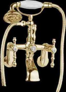Shower Bright Brass, Double Lever Faucet, Tele Shower, Wall Mount  13644   Tub Filler Faucets