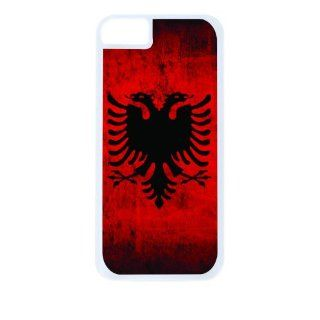 Albanian Flag White Tough Plastic Outer Case with Black Rubber Lining for Apple Iphone 4 (Double Layer Case with Silicone Protection), Iphone 4s Universal Verizon   Sprint   At&t   Great Affordable Gift Cell Phones & Accessories