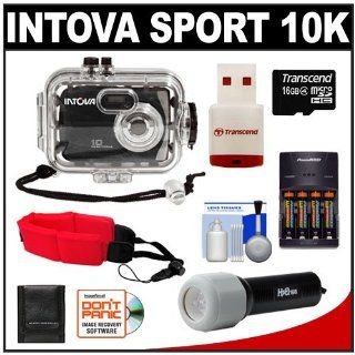 Intova Sport 10K Waterproof Digital Camera with 140' Underwater Housing + 16GB Card + Batteries & Charger + Case + LED Torch + Floating Strap + Kit  Point And Shoot Digital Cameras  Camera & Photo