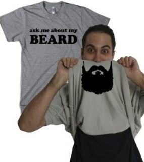 Ask Me About My Beard T Shirt Funny Facial Hair Flip Up Tee at  Men�s Clothing store