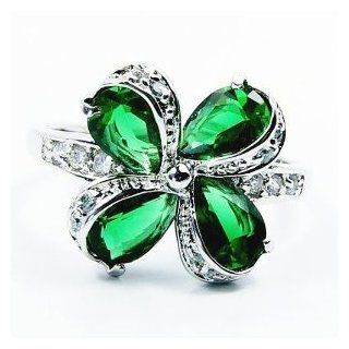 Diopside Quartz, Cubic Zirconia & Sterling Silver Ring, Size 7.75 Jewelry