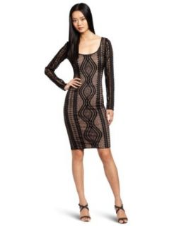 BCBGMAXAZRIA Women's Tanya Lace Round Neck Dress, Black, X Small
