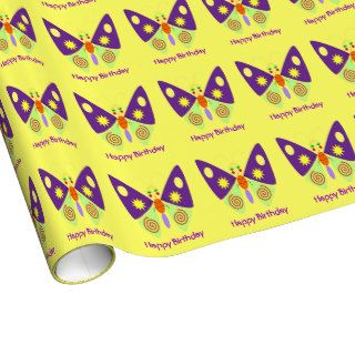 Cute Girly Cartoon Purple Butterfly Happy Birthday Gift Wrap