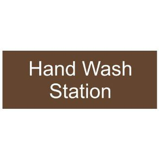 Hand Wash Station Engraved Sign EGRE 369 WHTonBrown Wash Hands   Sink  Business And Store Signs