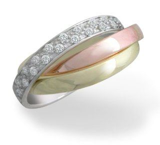 10k White, Yellow, and Rose Gold Tri Color Rolling Diamond Ring (0.46 cttw, I J Color, I2 I3 Clarity), Size 8 Jewelry