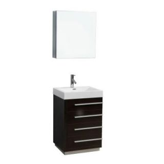 Virtu USA Bailey 22 3/8 in. Single Basin Vanity in Wenge with Poly Marble Vanity Top in White and Medicine Cabinet Mirror JS 50524 WG