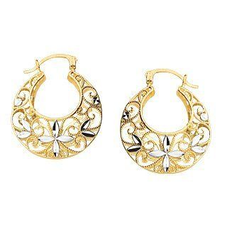 14K Two Tone Gold Diamond Cut Filigree Open Hoop Earrings Jewelry