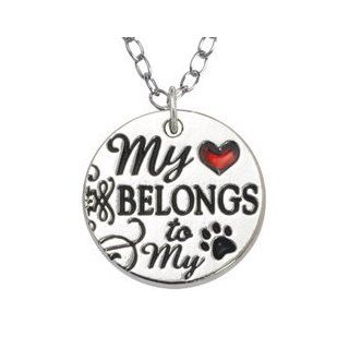 Rockin' Doggie Necklace, My Heart Belongs to My Dog with Red Heart  Pet Identification Tags