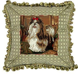 NEW BROWN WHITE SHIH TZU DOG PETIT POINT NEEDLEPOINT FRINGED PILLOW 14 x 14   Throw Pillows