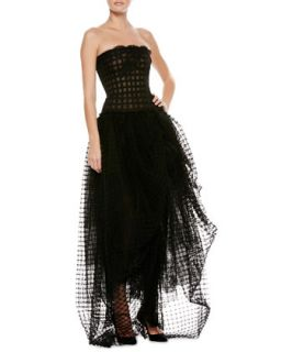 Womens Strapless Lace Tulle High Low Gown   Oscar de la Renta