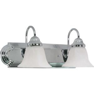 Glomar Ballerina 2 Light Polished Chrome Vanity with Alabaster Glass Bell Shades HD 316