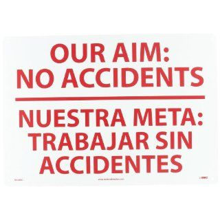"NMC M438RC Bilingual Restricted Area Sign, Legend ""OUR AIM NO ACCIDENTS"", 20"" Length x 14"" Height, Rigid Polystyrene Plastic, Red on White Industrial Warning Signs"