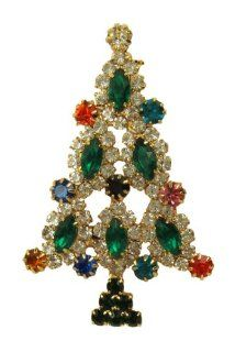 White Widow Large Gold Green Holiday Christmas Tree Pin Brooch Jewelry