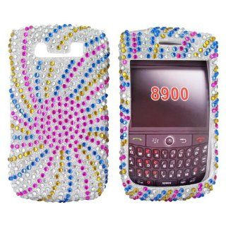 Colorful Sun Swirl Gems Bling Blackberry Curve 8900 Hard Case Cover; Fashion Jeweled Snap On Plastic Case; Perfect Fit as Best Coolest Design Cases for Curve 8900/Blackberry 8900 Compatible with Verizon, AT&T, Sprint,T Mobile and Unlocked Phones Every