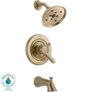 Delta Lahara 1 Handle 1 Spray Tub and Shower Faucet Trim Kit in Champagne Bronze featuring H2Okinetic (Valve Not Included) T17438 CZH2O