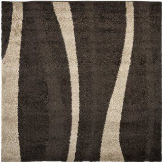 Safavieh Florida Shag Collection SG451 2813 Dark Brown and Beige Shag Square Area Rug, 6 Feet 7 Inch Square   Shaggy Area Rug