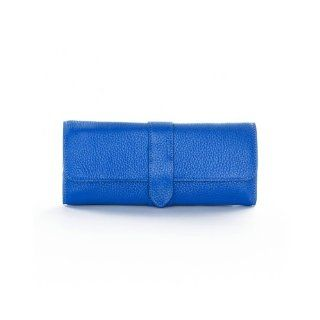 Jewelry Roll with Snap   Cobalt Leather (blue)   Full Grain Leather   Jewelry Trays