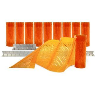 "Aleco 443682 Clear Flex II Standard AirStream Perforated PVC Strip Door Kit with MaxBullet Aluminum Mounting Hardware, 8"" Width x 84"" Height x 0.08"" Thick, Amber Rubber Floor Coverings"