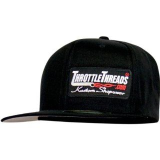 Throttle Threads Branded Flat Flex Fit Hat , Gender Mens/Unisex, Primary Color Black, Size Sm/Md TT437H60BKSM Automotive