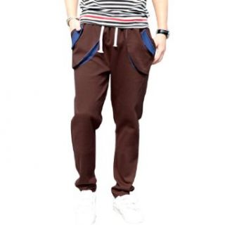 Mens Drawstring Front Tapered Fit Long Trousers Pants at  Men�s Clothing store Harem Pants