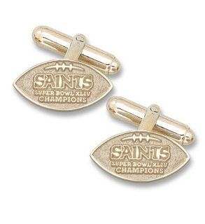 New Orleans Saints Super Bowl XLIV Champions One Sided Football 14KT Gold Cuff Links   1 Pair  Sports & Outdoors