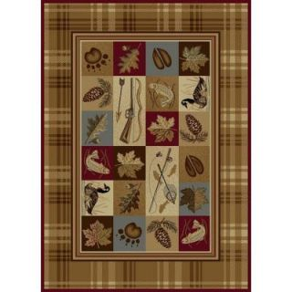 Tayse Rugs Nature Beige 5 ft. 3 in. x 7 ft. 3 in. Lodge Area Rug 6510  Multi  5x8