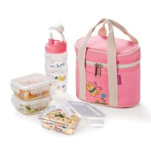 Lock and Lock Glass Baby Lunch Box Set in Pink DISCONTINUED LLG411S3P