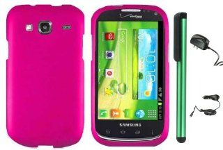 "Samsung Godiva (SCH i425)   Hot Pink Premium Design Protector Hard Cover Case (Verizon) + Luxmo Brand Travel (Wall) Charger & Car Charger + Combination 1 of New Metal Stylus Touch Screen Pen (4"" Height, Random Color  Black, Silver, Hot Pink, Green"