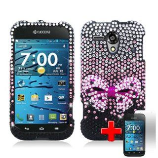 Kyocera Hydro EDGE C5215 (Sprint/Boost Mobile) 2 Piece Snap On 3D Rhinestone/Diamond/Bling Hard Plastic Case Cover, 3D Pink Bow Tie Silver/Black Case Cover + LCD Clear Screen Saver Protector Cell Phones & Accessories